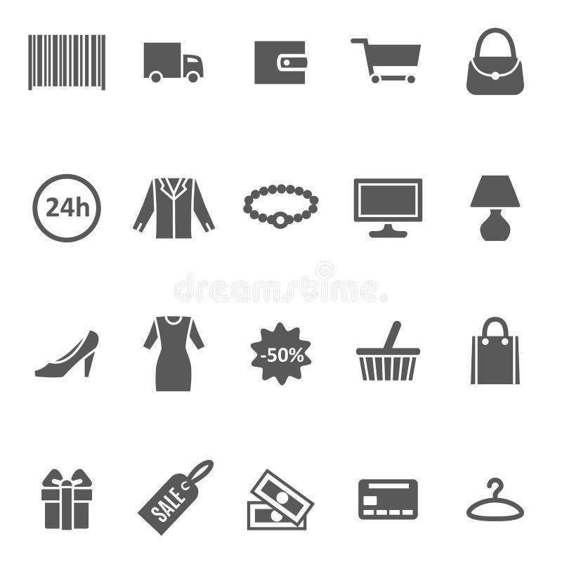 Комплект значка покупок черноты силуэта шаржа вектор бесплатная иллюстрация