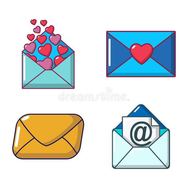 Комплект значка почты, стиль шаржа иллюстрация штока