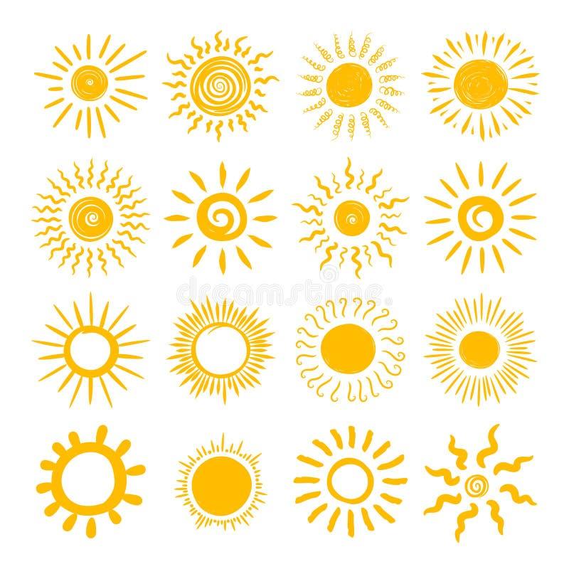Комплект значка притяжки руки Солнця иллюстрация штока