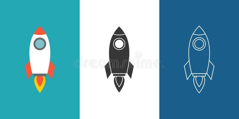 Комплект значка Ракеты иллюстрация вектора