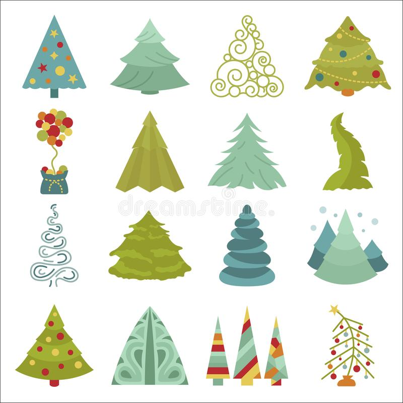 Комплект значка рождественской елки Плоский дизайн Зима c Нового Года иллюстрация штока