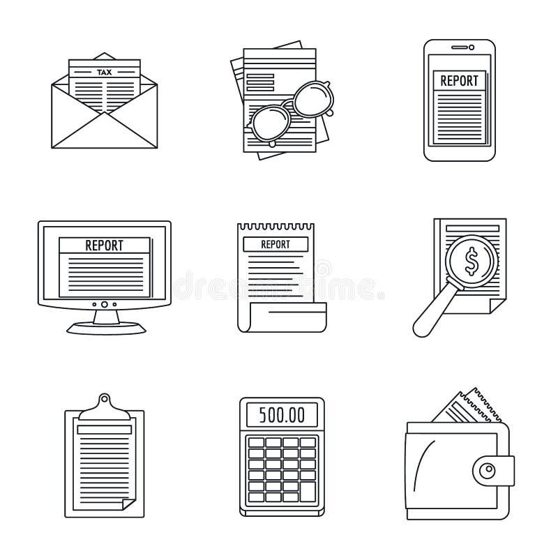 Комплект значка сделки отчете о расхода, стиль плана иллюстрация вектора