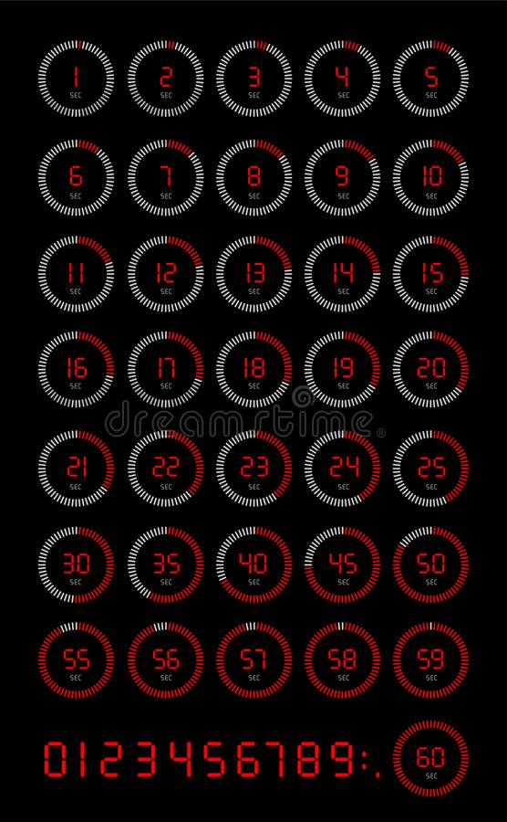 Комплект значка секундомера 5, 10, 15, 20, 25, 30, 35, 40, 45, 50, 55, 60 секунд, цифровой таймер Часы и вахта, таймер, комплекс  иллюстрация вектора