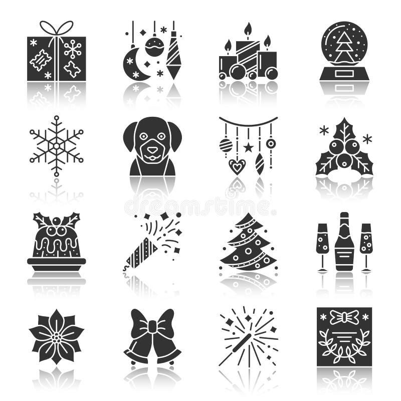 Комплект значка силуэта рождества и Нового Года черный иллюстрация штока