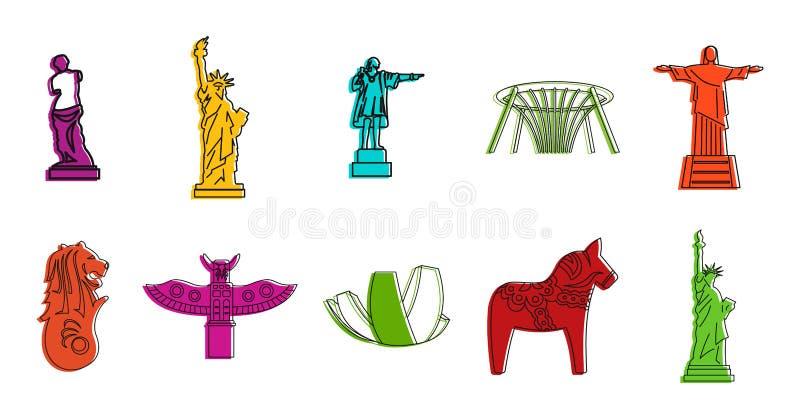 Комплект значка статуи, стиль плана цвета иллюстрация вектора