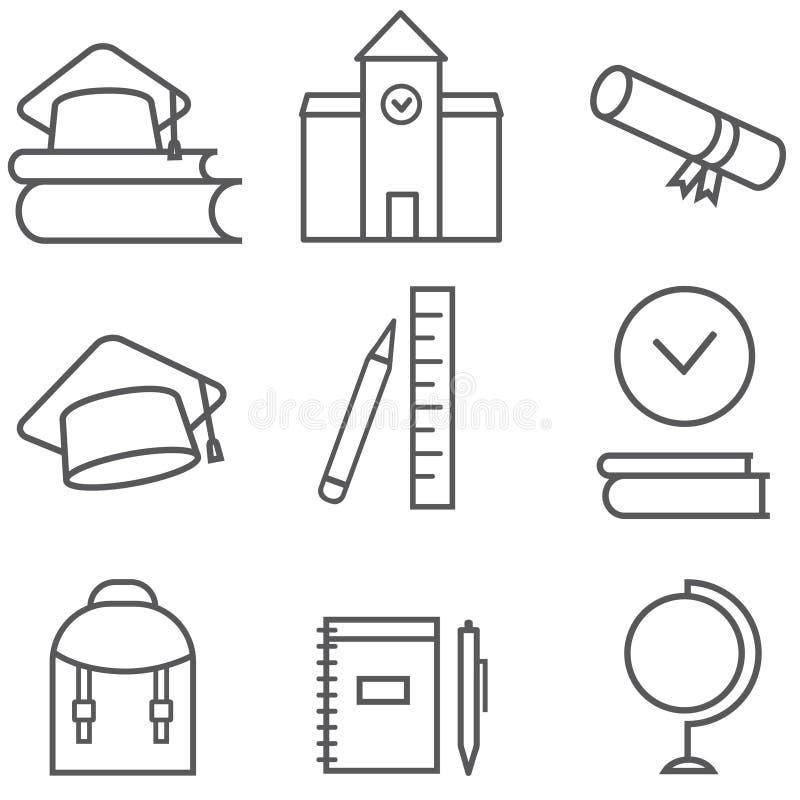 Комплект значка темы образования иконы предпосылки легкие заменяют вектор тени прозрачный иллюстрация вектора
