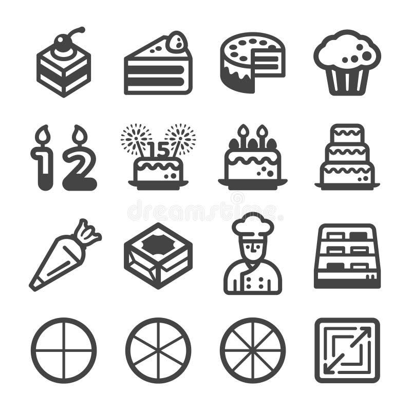 Комплект значка торта иллюстрация вектора
