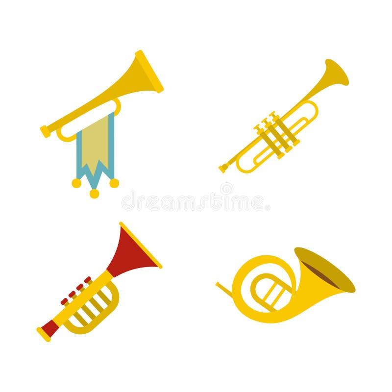 Комплект значка трубы, плоский стиль иллюстрация штока