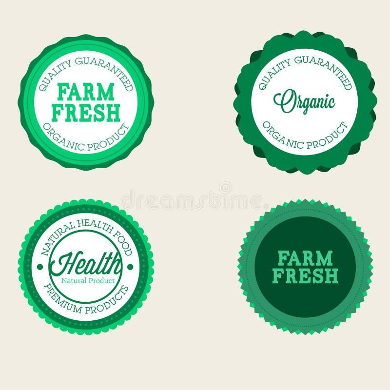 Комплект значка фермы вектора свежих органических элементов Винтажные ярлыки стиля для естественных еды и питья, продуктов, biody иллюстрация вектора