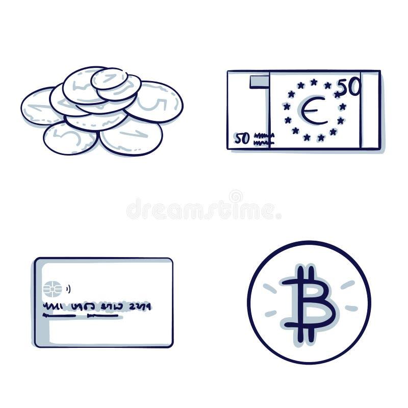 Комплект значка финансовых и денег иллюстрация вектора