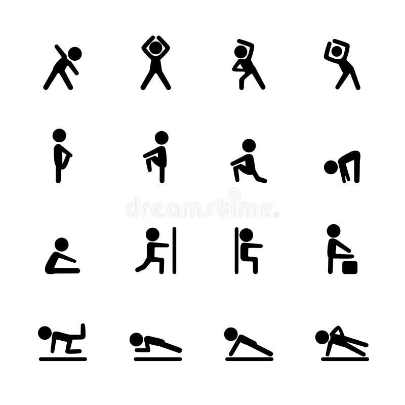 Комплект значка фитнеса тренировки, вектор eps10 бесплатная иллюстрация