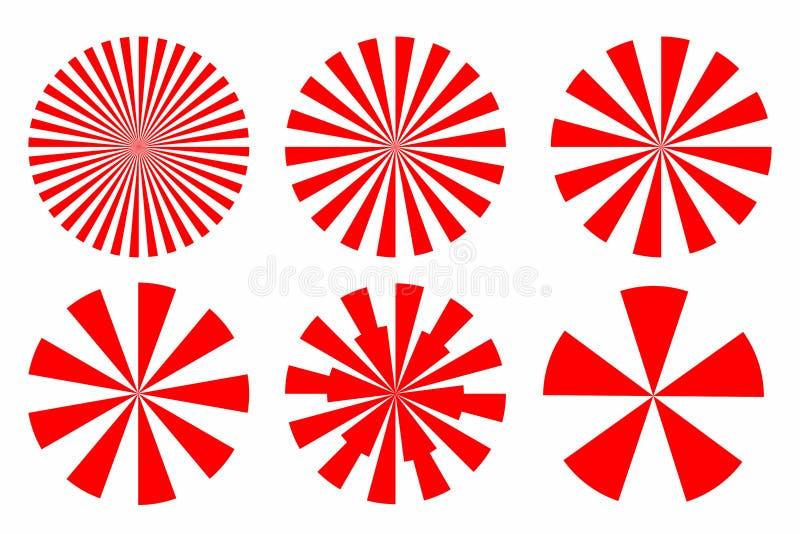 Комплект значка формы красного конспекта sunburst круговой геометрической с иллюстрация штока
