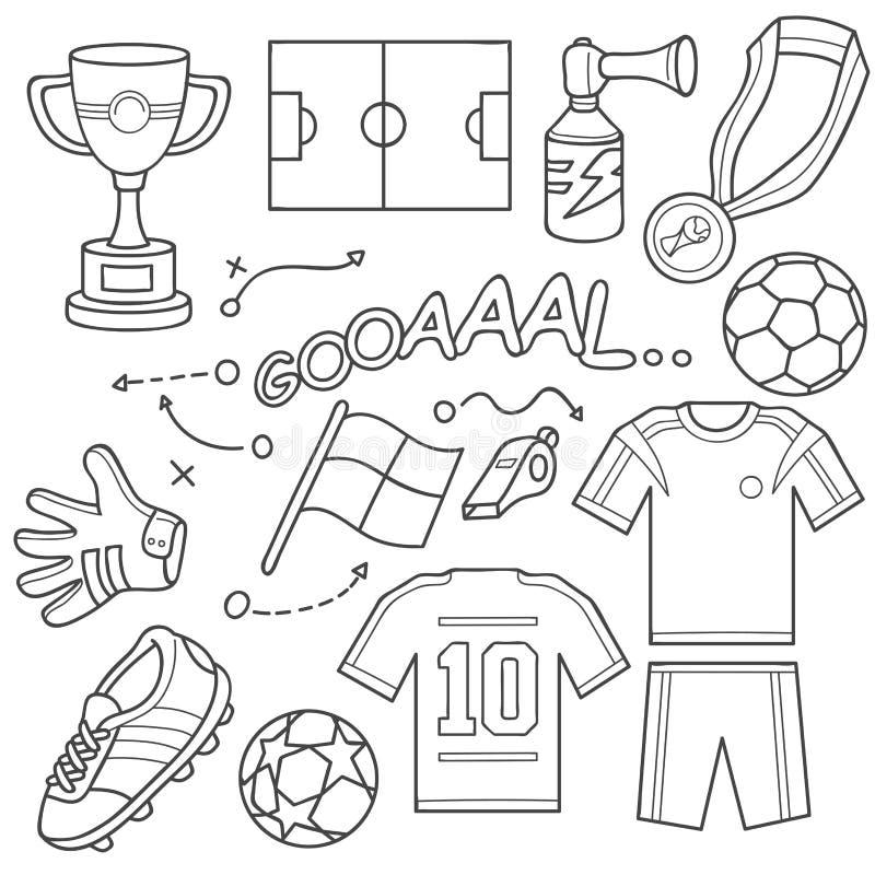 Комплект значка футбола иллюстрация штока
