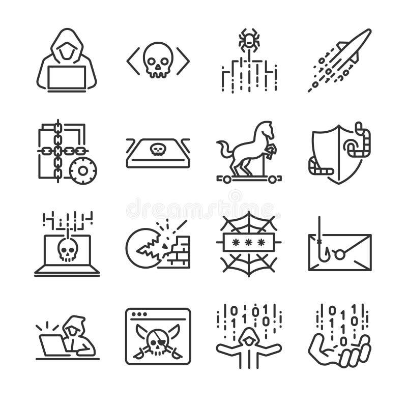 Комплект значка хакера Включил значки как рубить, malware, червь, spyware, компьютерный вирус, преступник и больше иллюстрация вектора