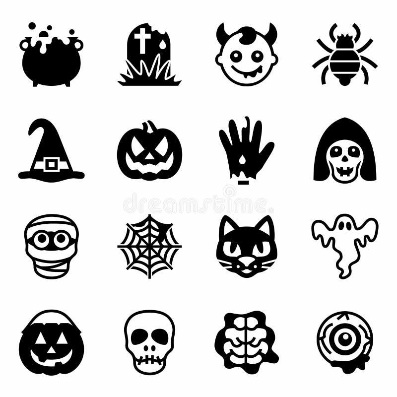Комплект значка хеллоуина вектора иллюстрация вектора