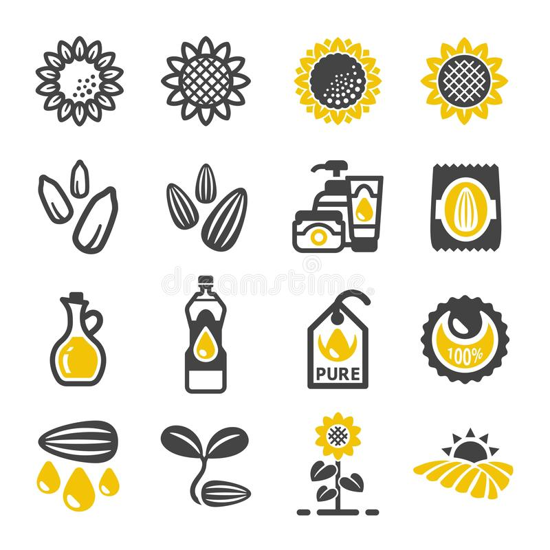 Комплект значка цветка Солнця иллюстрация штока