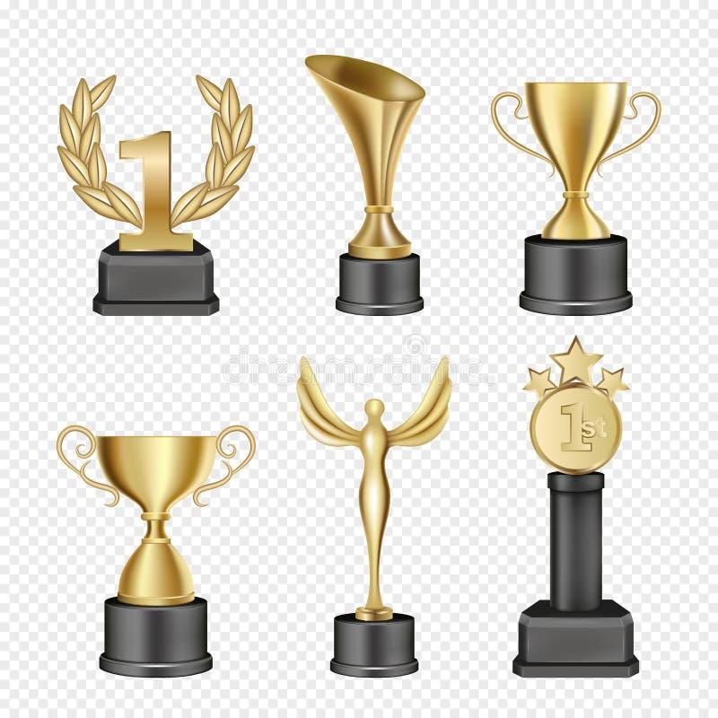 Комплект значка чашки награды металла вектора иллюстрация вектора