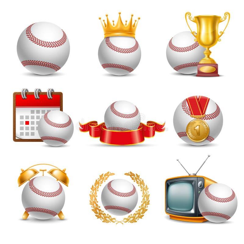 Комплект значка шарика бейсбола иллюстрация штока