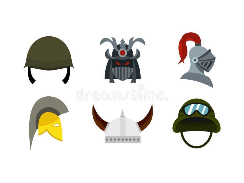 Комплект значка шлема армии, плоский стиль бесплатная иллюстрация