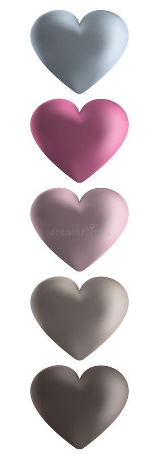 Комплект значка эмблемы вектора 5 сердец лоснистый иллюстрация штока