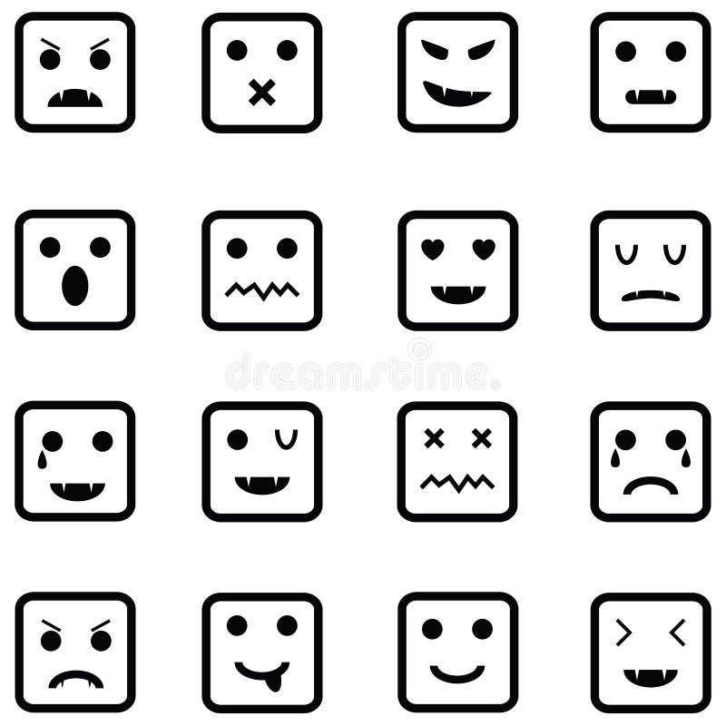 Комплект значка эмоции иллюстрация вектора