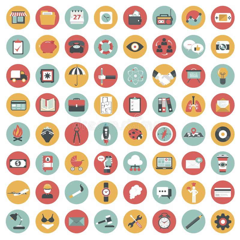 Комплект значка App Значки для вебсайтов и передвижных применений плоско иллюстрация штока