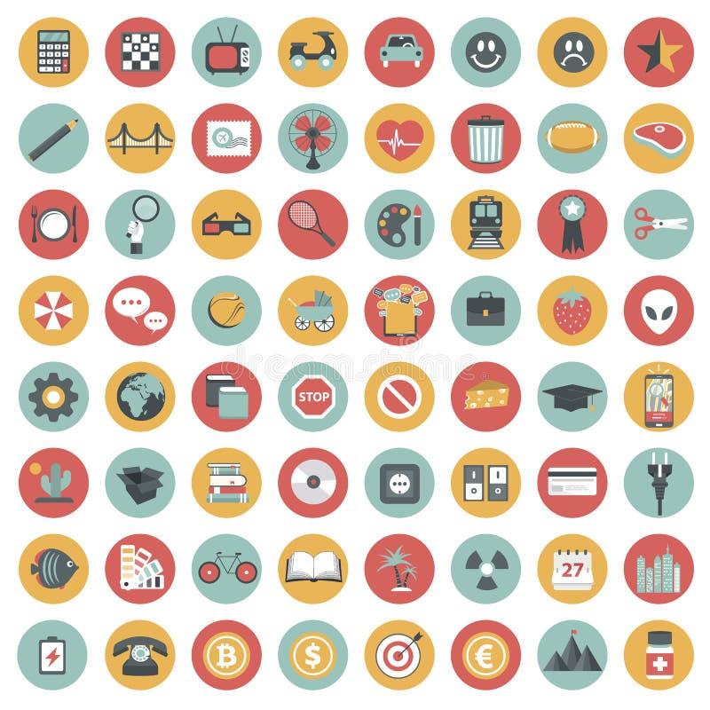 Комплект значка App Значки для вебсайтов и передвижных применений плоско иллюстрация вектора