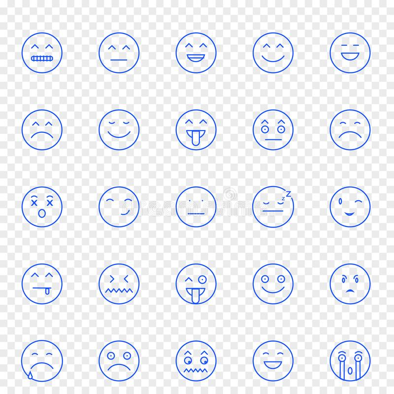 Комплект значка Emoji 25 значков вектора пакуют иллюстрация штока