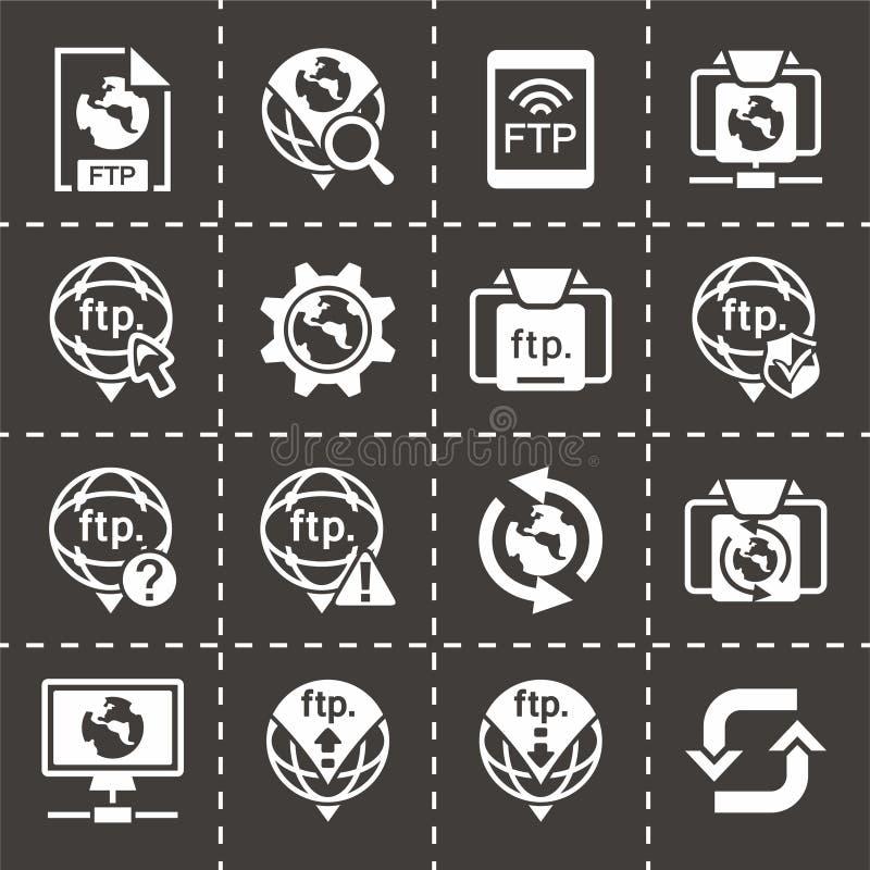 Комплект значка FTP вектора иллюстрация вектора
