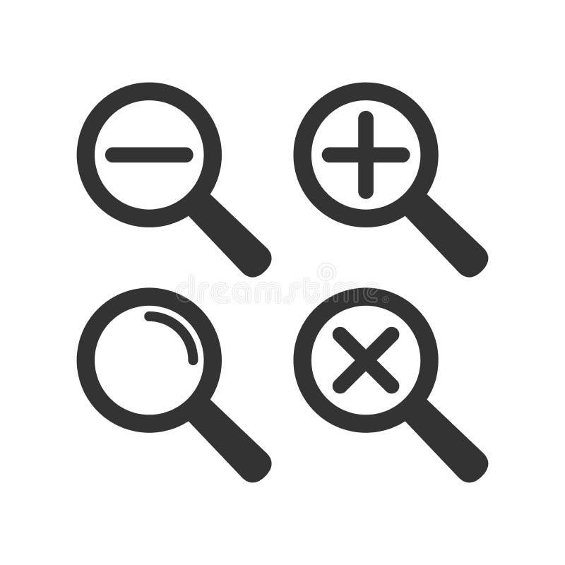 Комплект значка loupe сети Лупа с положительной величиной и минусом икона увеличивает бесплатная иллюстрация