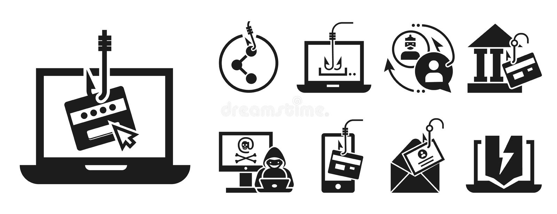 Комплект значка Phishing, простой стиль иллюстрация вектора