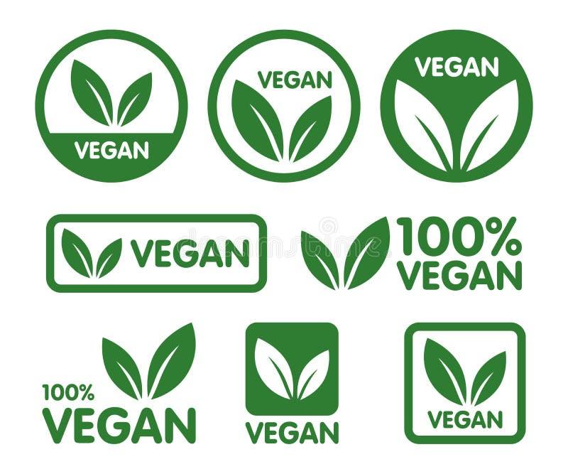 Комплект значка Vegan  Зеленый значок лист на белой предпосылке иллюстрация штока