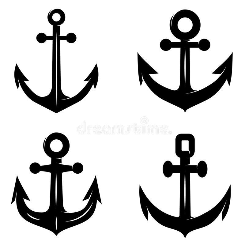 Комплект значков анкера изолированного на белой предпосылке Конструируйте элемент для логотипа, ярлыка, эмблемы, знака иллюстрация штока