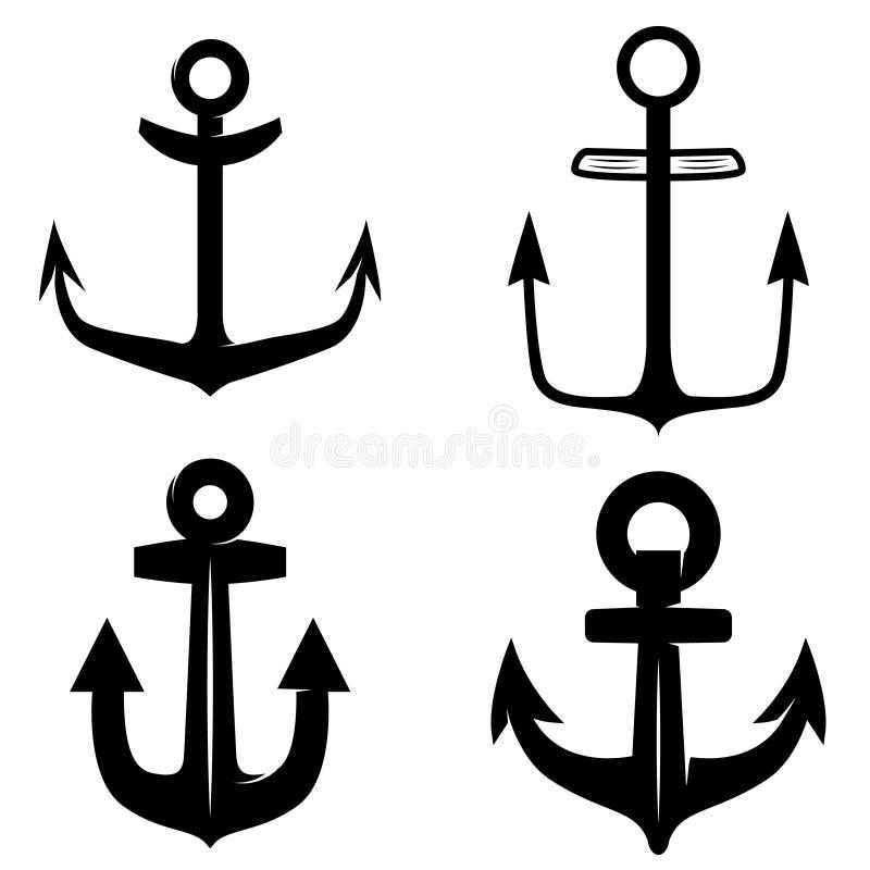 Комплект значков анкера изолированного на белой предпосылке Конструируйте элемент для логотипа, ярлыка, эмблемы, знака бесплатная иллюстрация