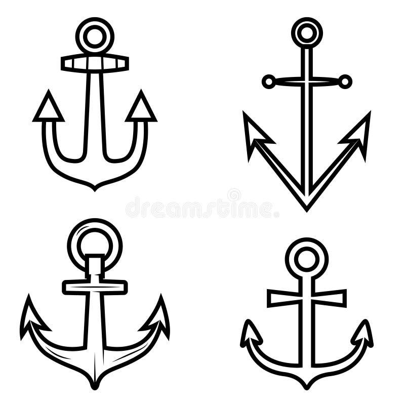 Комплект значков анкера Конструируйте элемент для логотипа, ярлыка, эмблемы, знака иллюстрация штока