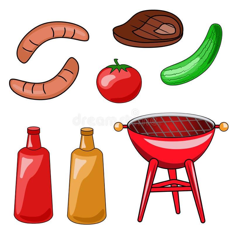 Комплект значков барбекю Иллюстрация вектора приготовления на гриле, s бесплатная иллюстрация