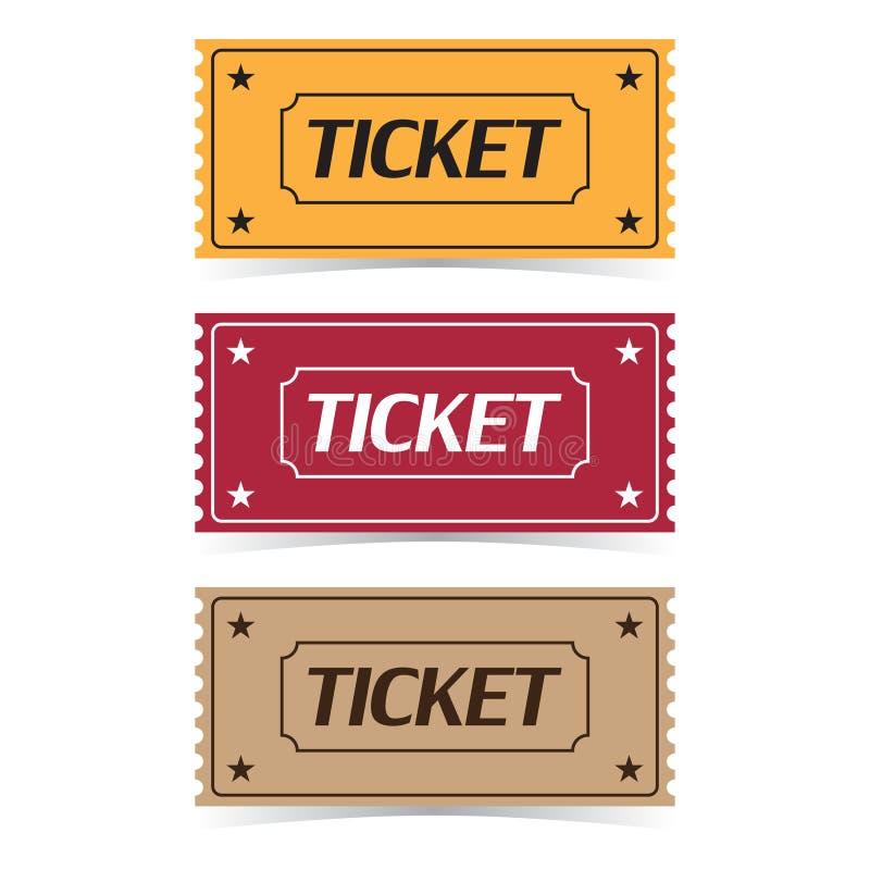 Комплект значков билета кино с тенью на белой предпосылке иллюстрация вектора