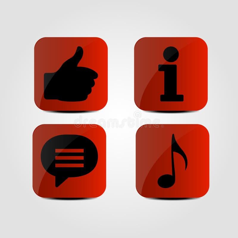 Комплект значков - большой палец руки вверх, сообщение, информация и музыка замечают значки бесплатная иллюстрация