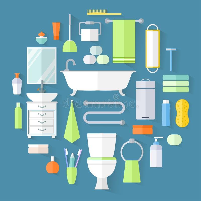 Комплект значков ванной комнаты иллюстрация штока