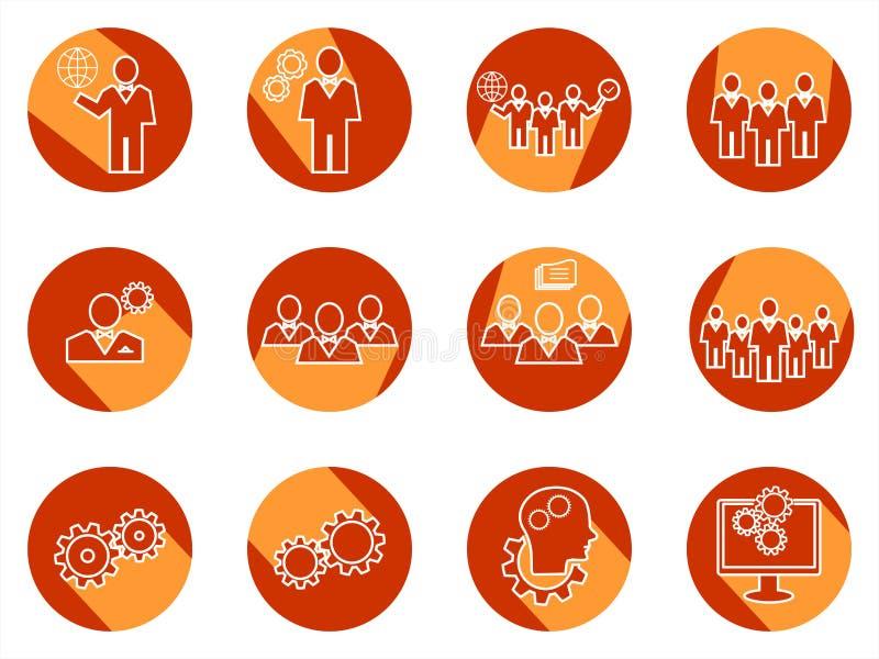 Комплект значков дела круга Данные, время или управление людей бесплатная иллюстрация