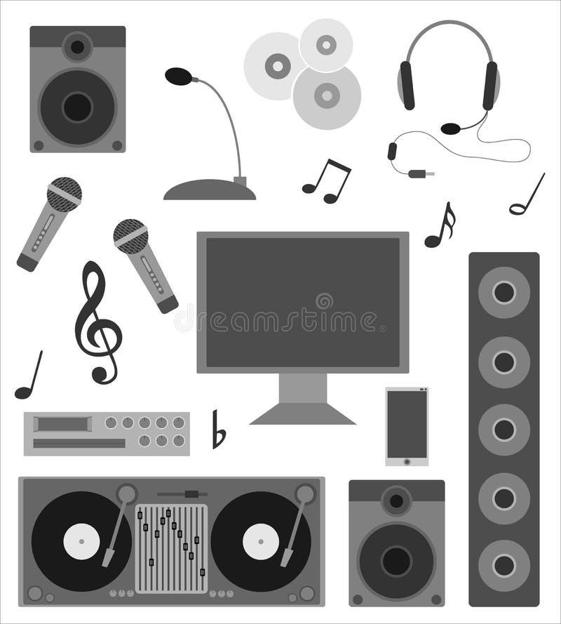 Комплект значков для аудиозаписей и DJs вектор иллюстрация штока