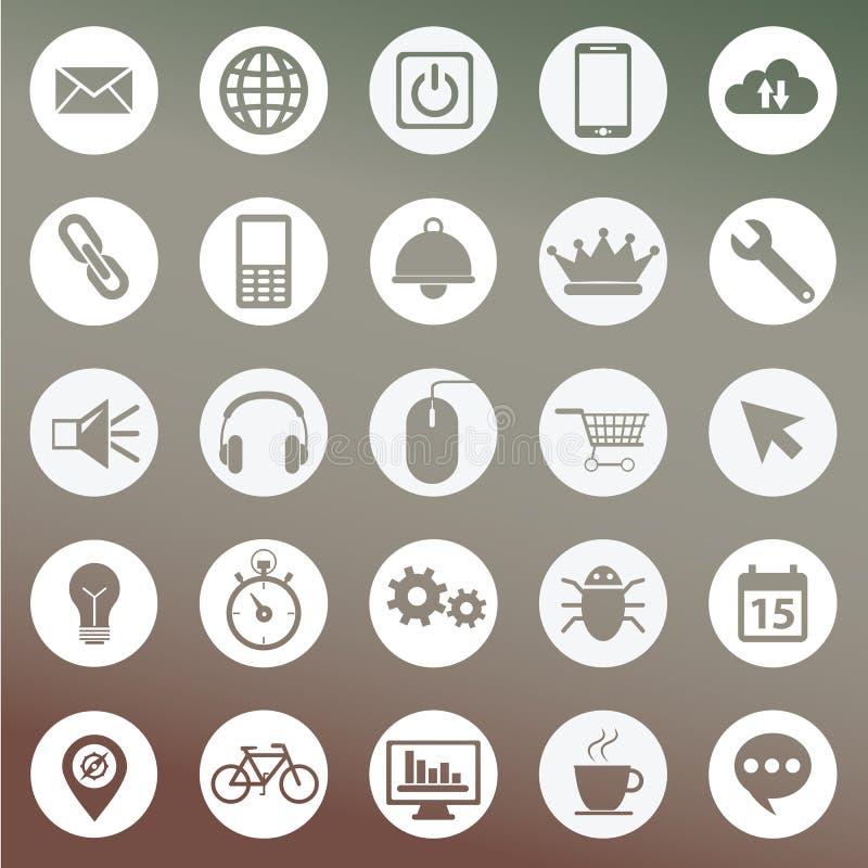 Комплект значков для дизайна сети и пользовательского интерфейса иллюстрация штока