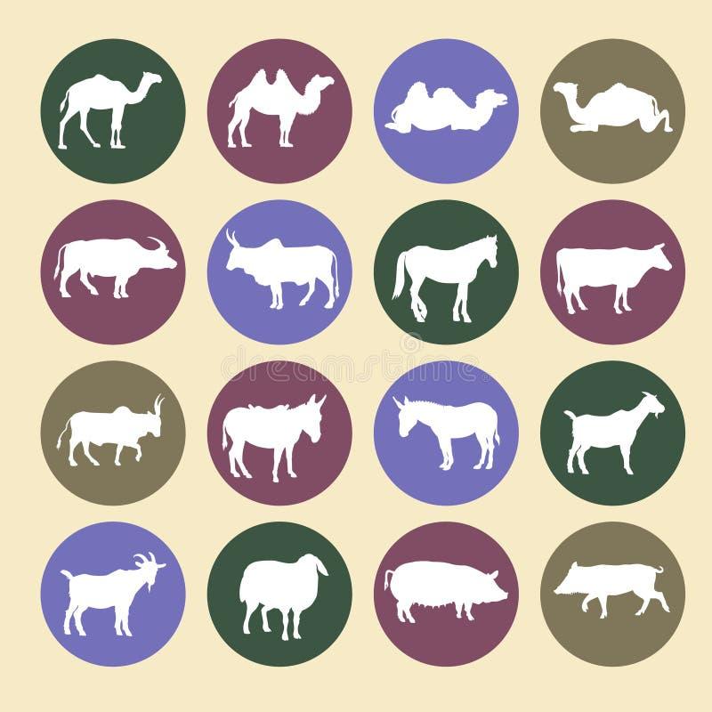 Комплект значков животноводческих ферм иллюстрация штока