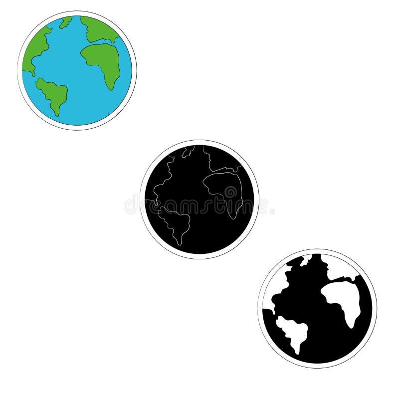 Комплект значков земли планеты в 3 версиях цвете, monochrome также вектор иллюстрации притяжки corel иллюстрация штока