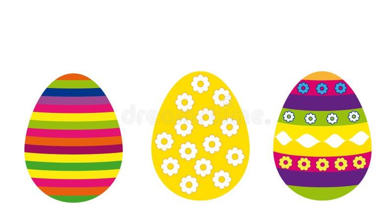 Комплект 3 значков изолированных на белой предпосылке, традиционных покрашенных пасхальных яя, иллюстрации вектора бесплатная иллюстрация