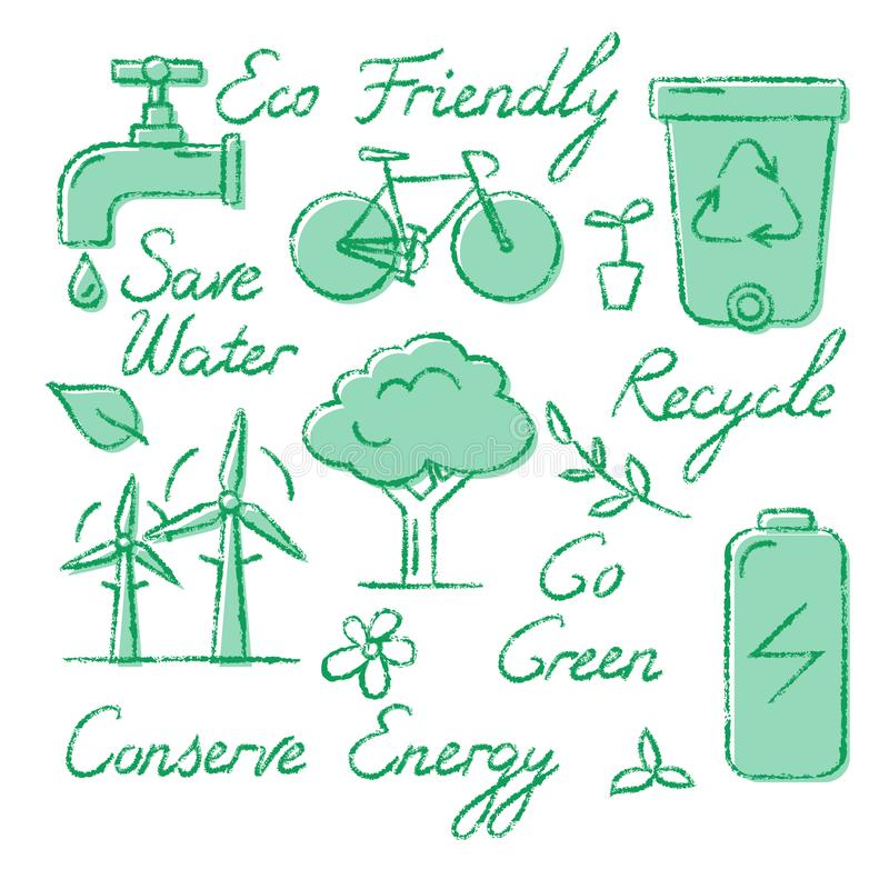 Комплект значков и литерности экологичности в стиле эскиза иллюстрация вектора