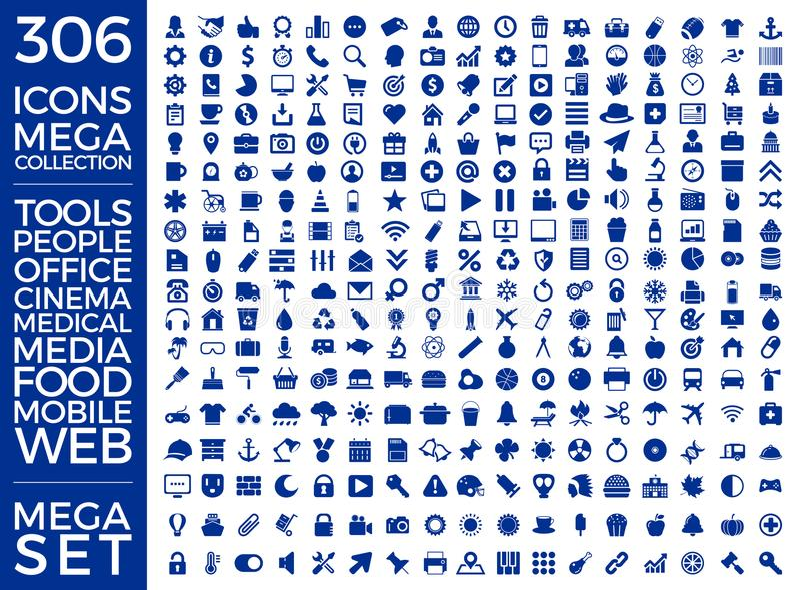 Комплект значков, качественный дизайн вектора собрания значка стоковое фото