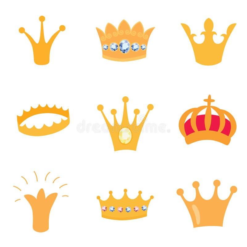 Комплект значков кроны золота Vector изолированные элементы для логотипа, ярлыка, игры, гостиницы, дизайна app Королевский король бесплатная иллюстрация