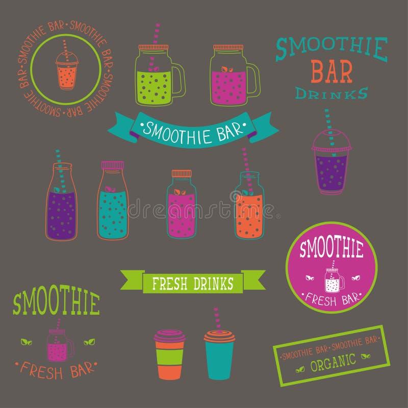 Комплект значков, логотипа, элементов, символов, эмблем и ярлыков - smoothie, кофе, который нужно пойти, frappe, сока, коктеиля п иллюстрация штока
