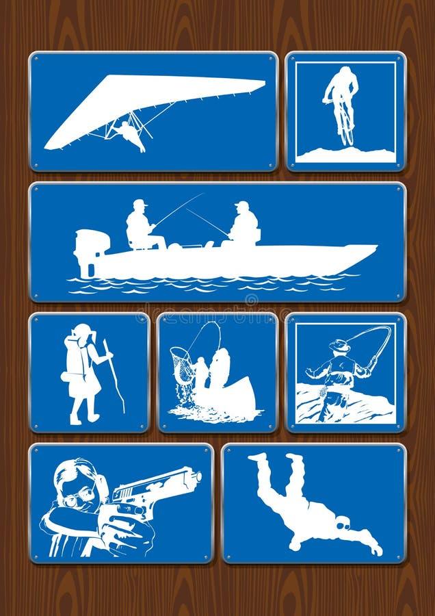 Комплект значков мероприятий на свежем воздухе: бинокли, компас, пеший туризм, взбираясь Значки в голубом цвете на деревянной пре иллюстрация вектора